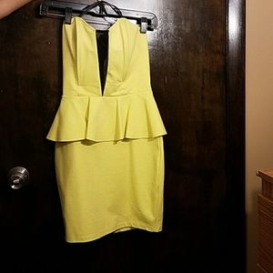Neon yellow Strapless dress